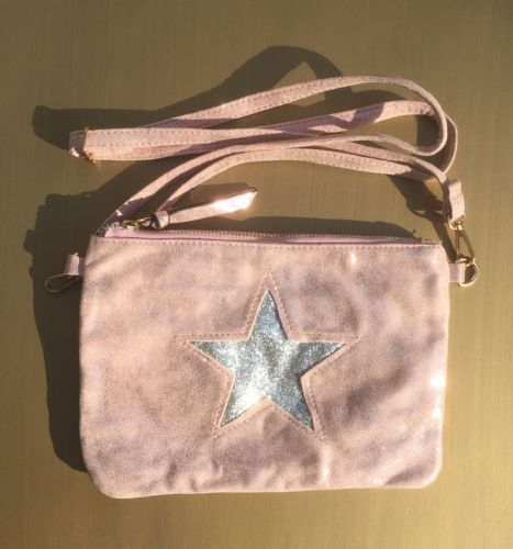 Faux Suede Star Clutch and Cross Body Bag